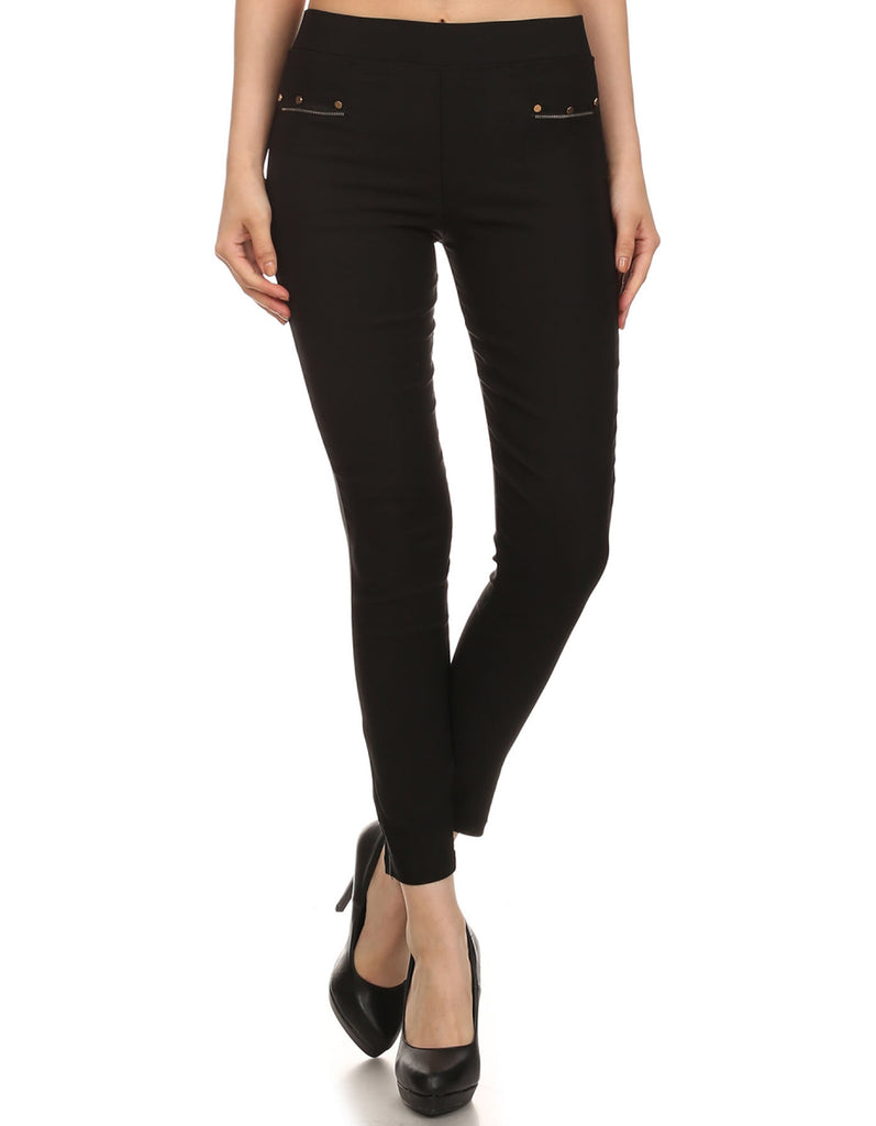 High Waisted Pants with Pockets and Zipper detailing