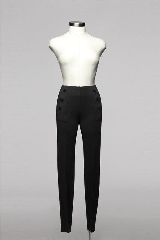 High Waisted Fitted Black Pant With Decorative Buttons