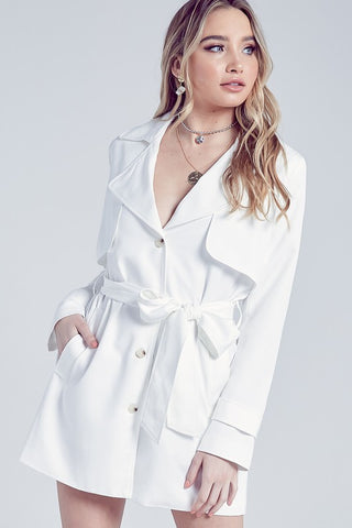 Elegant Off White Collar Button Tie-Up Jacket Dress with Long Sleeve