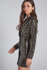Elegant Gold Sequence Jacket Dress with Long Sleeve