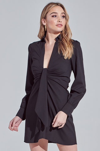 Fashion Black Deep Tie-Up Shirt Dress