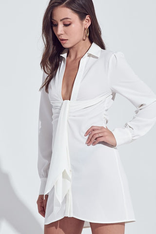 Fashion White Deep Tie-Up Shirt Dress