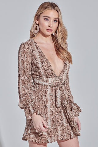Elegant Animal Print Gold Detailled Deep V-Neck Ruffle Tie-Up Dress with Long Sleeve