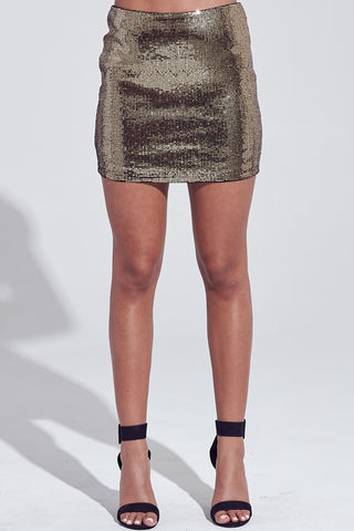 Elegant Sequence Black Gold Mini Skirt