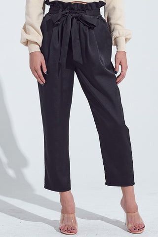 Elegant Black Satin High Waisted Tie-Up Pants