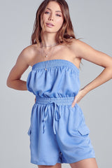 Elegant Strapless Light Blue Tie-Up Cargo Romper