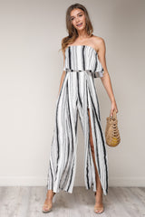 Fashion Strapless Ruffle White Striped Cut Out Jumpsuit