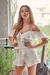 Fashion Strap Off White Tie-Up Ruffle Sleeveless Romper