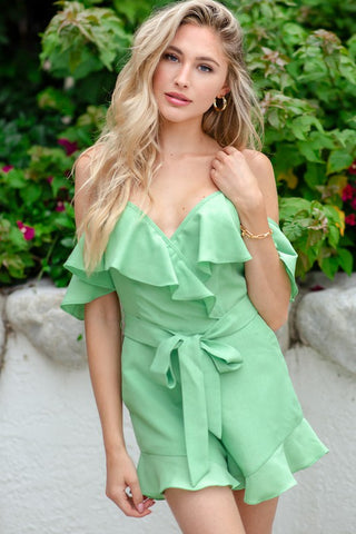 Fashion Strap Mint Tie-Up Ruffle Sleeveless Romper