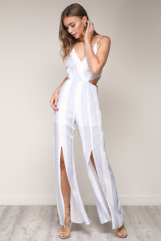 Elegant Blue Striped White Cut Out Jumpsuit