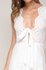 Elegant White Lace Jumpsuit with Tie-Up Detailed