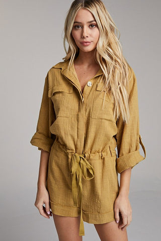 Fashion Summer Moss Green Button Down Tie-Up Romper with Long Sleeve