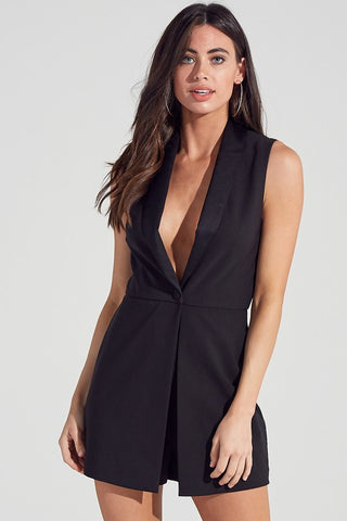 Elegant Cocktail Black Deep V-Neck Romper