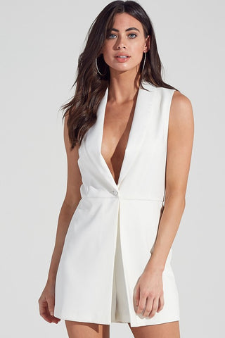 Elegant Cocktail Off White Deep V-Neck Romper