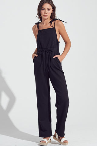 Fashion Strap Tie-Up Black Jogger Jumpsuit