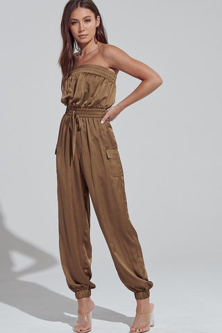 Elegant Strapless Olive Satin Tie-Up Cargo Jumpsuit