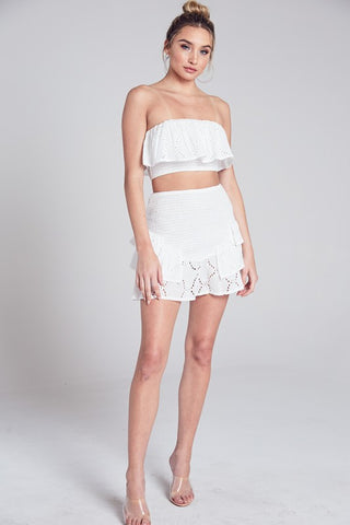 Elegant Summer Strapless White Lace Ruffle Crop Top