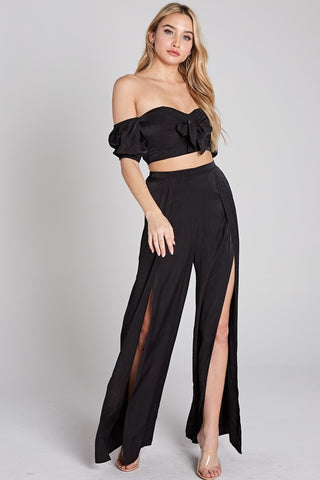 Fashion Black High Waisted Cut-Out Pants