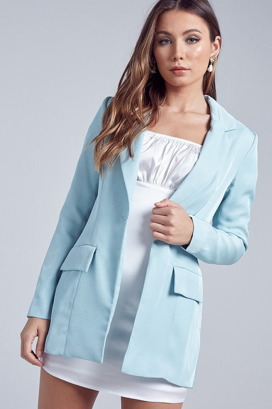 Fashion Sky Blue Satin Blazer Jacket