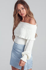 Fashion Off Shoulder Ruffle Bell Sleeve Ivory Sweater