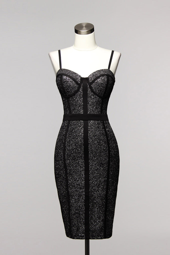 Fashion Silver Glitter Geometric Black Dress