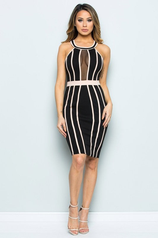 Fashion Black Nude Striped Dress