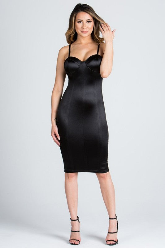 Elegant Satin Bustier Fitted Cocktail Black Dress