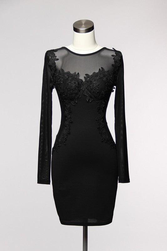 Elegant Floral Lace Long Sleeve Black Dress