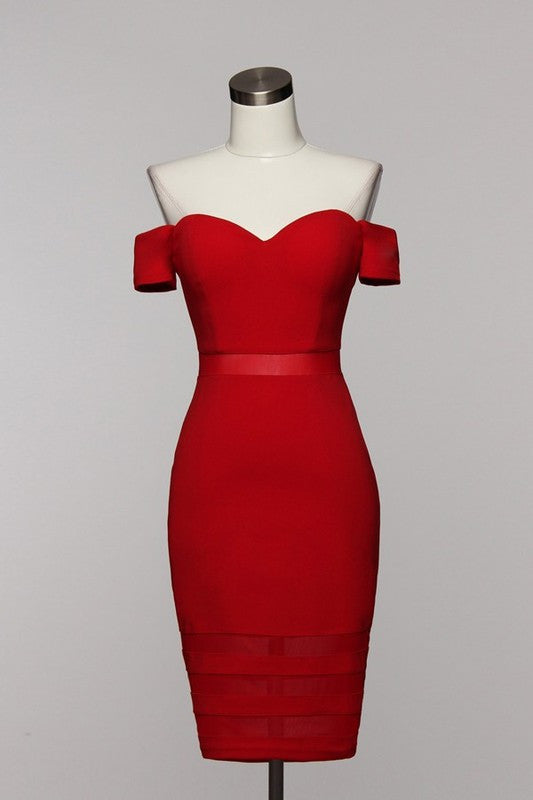 Elegant Off Shoulder Red Dress with Mesh Detail