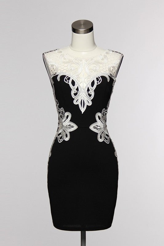 Elegant Crochet Lace Black Dress