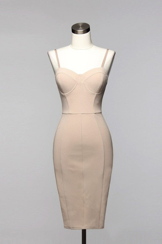 Elegant Geometric Beige Dress