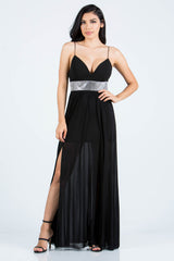 Elegant Strap V-Neck Crystal Black Maxi Dress