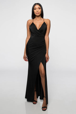 Fashion Strap Black Maxi Dress with Middle Slit