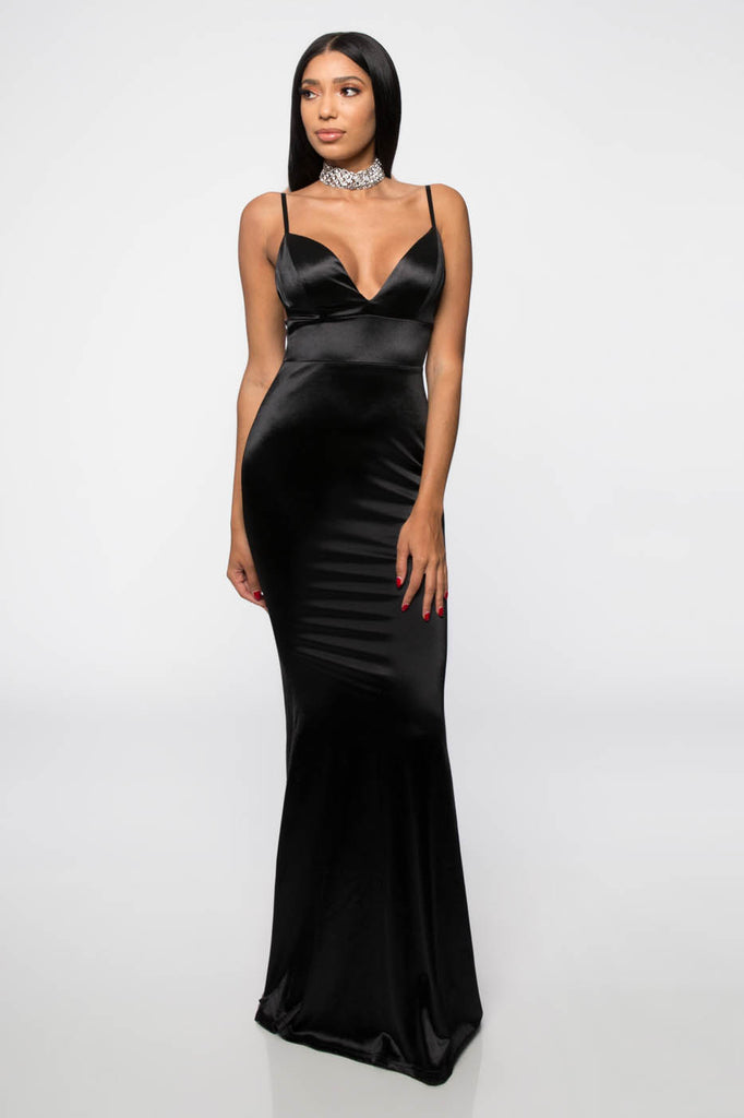 Fashion Strap Open Back Satin Black Maxi Dress Edite Mode