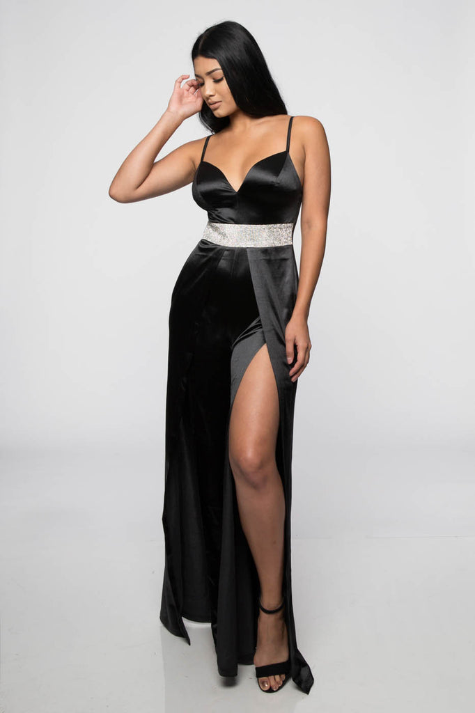 Elegant Strap V-Neck Crystal Black Satin Cut Out Jumpsuit