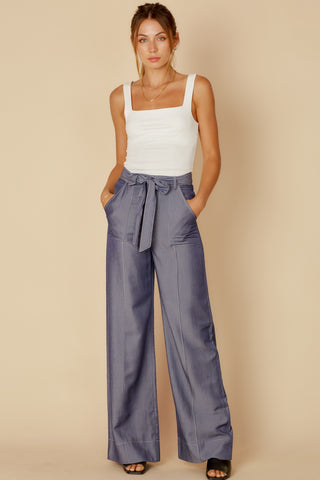 Elegant Navy Denim High Waisted Tie-Up Palazzo Pants