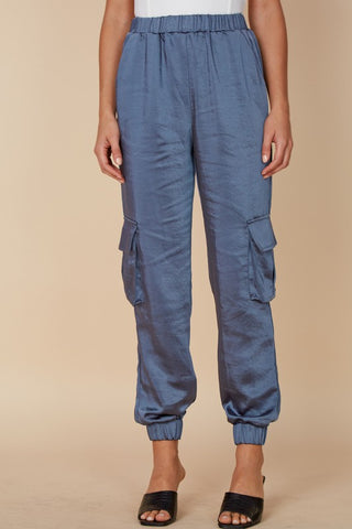 Elegant Blue Denim Satin Cargo Jogger Pants