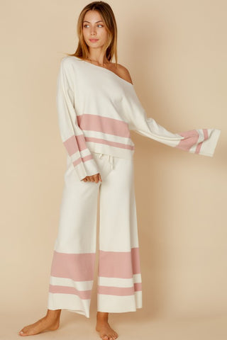 Fashion Casual Ivory Pink Sweater Palazzo Pants