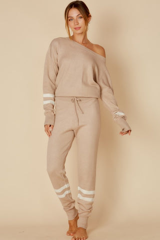 Fashion Casual Taupe Sweater Jogger Pants