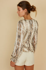 Elegant Taupe Multi-Color Animal Print Gold Detailed Front Tie-Up Crop Top with Long Sleeve
