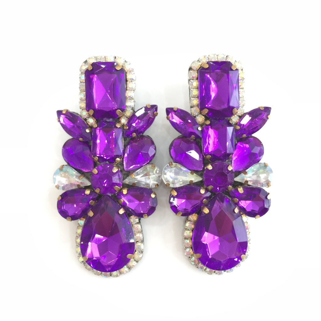 Fashion Designer Purple Crystal Earrings