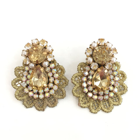 Fashion Designer Gold Crystal Gold Lace Earrings