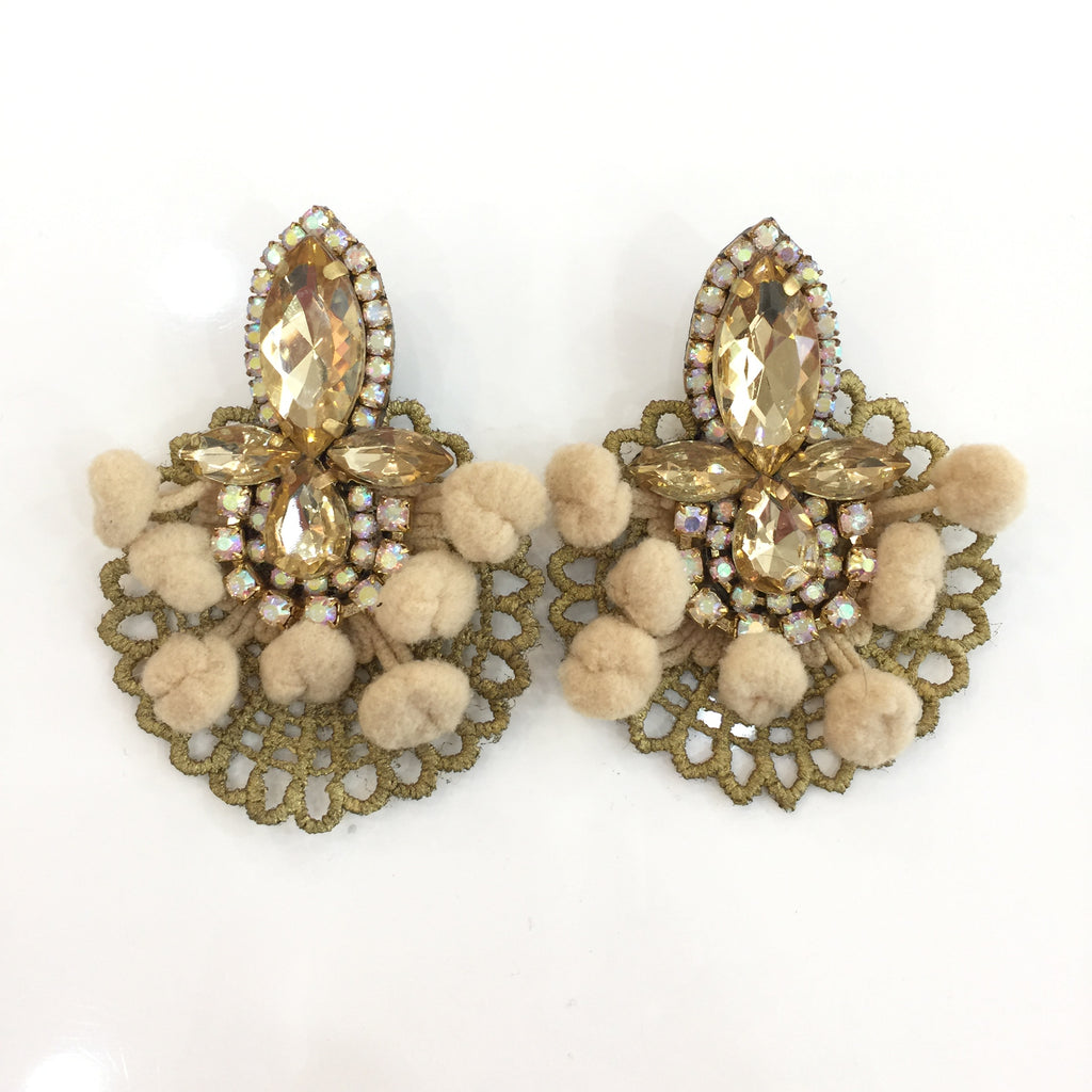Fashion Designer Beige Pom Pom Gold Crystal Gold Lace Earrings