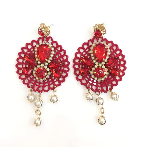 Fashion White Pearl Designer Red Crystal Red Lace Earrings