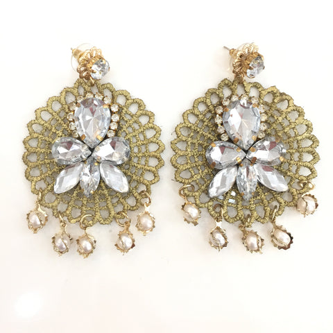 Fashion White Pearl Designer Silver Crystal Gold Lace Earrings