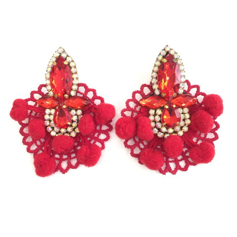 Fashion Designer Red Pom Pom Red Crystal Red Lace Earrings