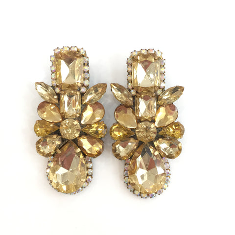 Fashion Designer Gold Crystal Earrings