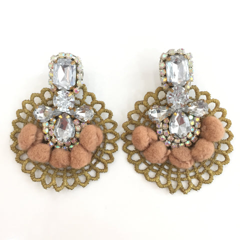 Fashion Designer Beige Pom Pom Silver Crystal Gold Lace Earrings