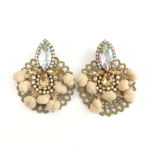 Fashion Designer Beige Pom Pom Gold and Clear Crystal Gold Lace Earrings