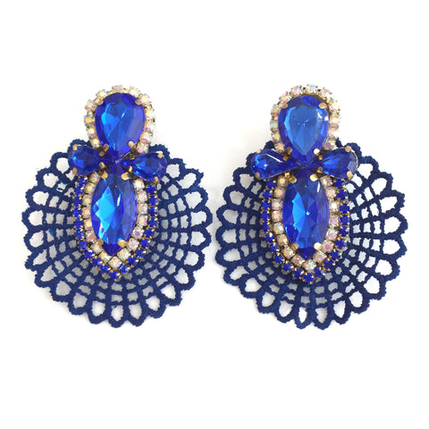 Fashion Designer Blue Crystal Blue Lace  Earrings